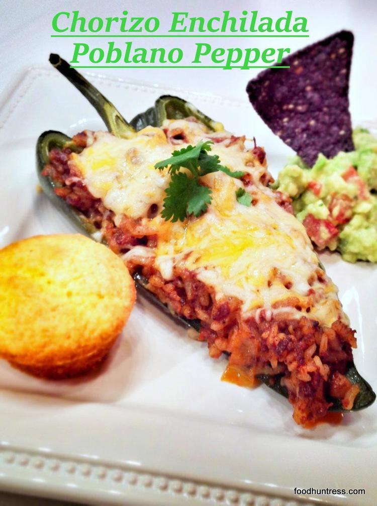 Chorizo Enchilada Stuffed Poblano Pepper