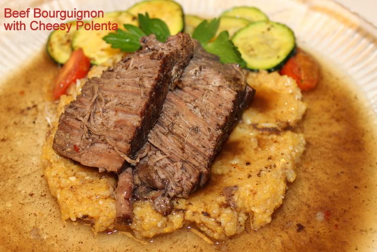 Lighter Beef Bourguignon with Cheesy Polenta