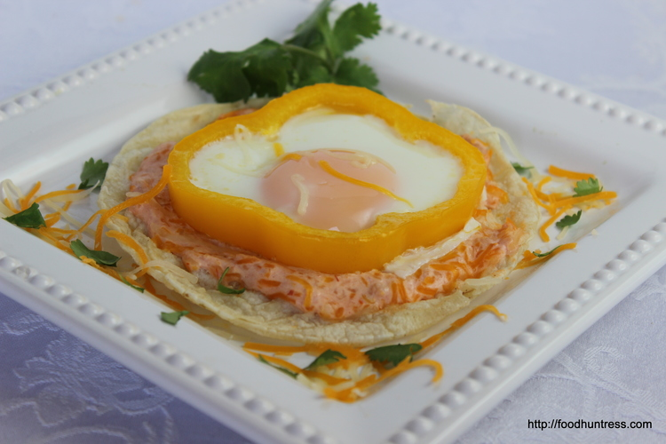 Egg Tostada with Salsa Cream Sauce