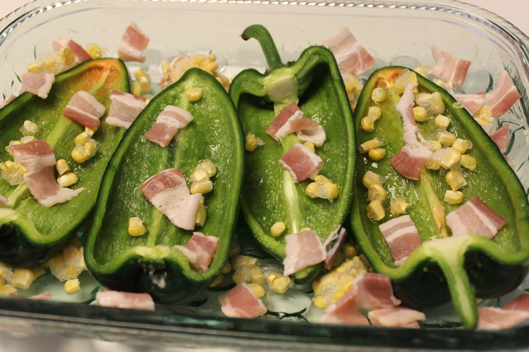 60.1 Poblano Pepper Stuffed with Eggs, Shrimp and Bacon