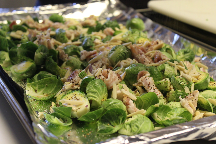 65.4 Roasted Brussels Sprouts with Bacon, Dried Cranberries and Slivered Almonds