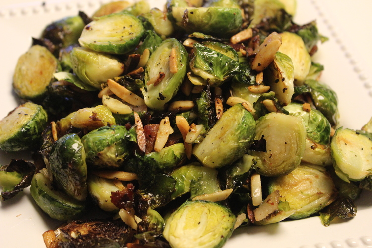 65 Roasted Brussels Sprouts with Bacon, Dried Cranberries and Slivered Almonds