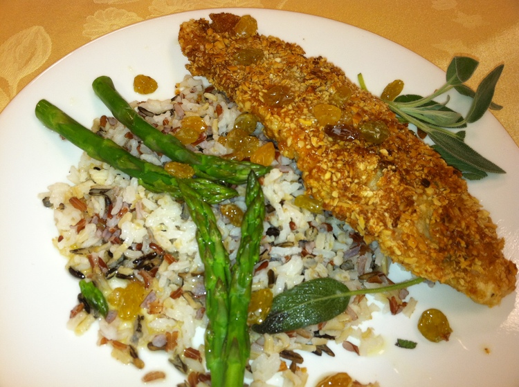 Almond Crusted Walleye with a Golden Raisin Butter Sauce