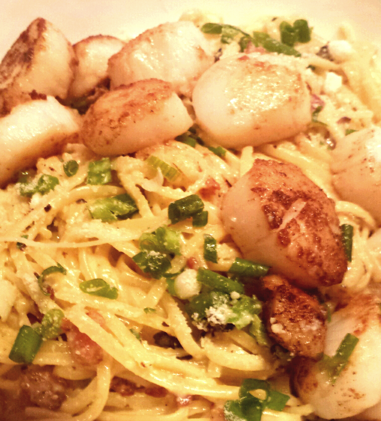 Pasta-Carbonara-with-Scallops Pasta Carbonara with Scallops