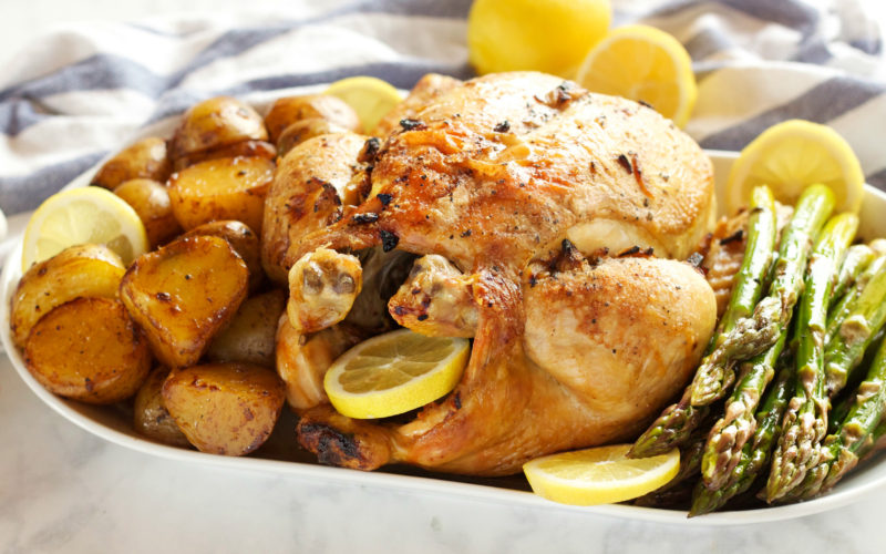Lemon Garlic Ginger Roasted Chicken